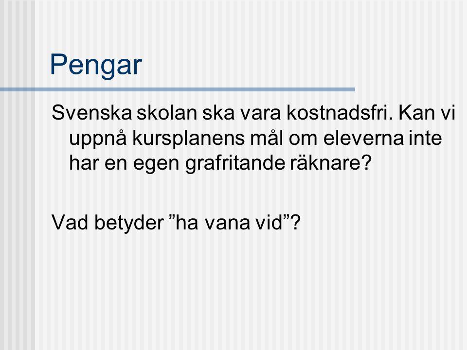 """Pengar Svenska skolan ska vara kostnadsfri. Kan vi uppnå kursplanens mål om eleverna inte har en egen grafritande räknare? Vad betyder """"ha vana vid""""?"""