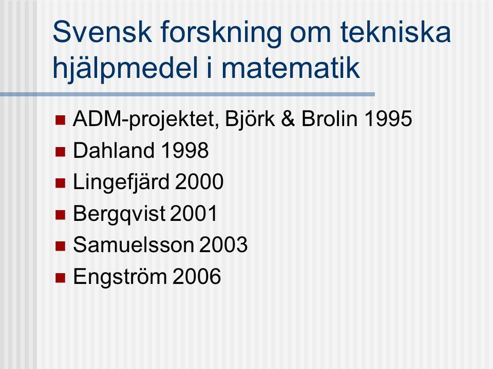 Svensk forskning om tekniska hjälpmedel i matematik ADM-projektet, Björk & Brolin 1995 Dahland 1998 Lingefjärd 2000 Bergqvist 2001 Samuelsson 2003 Eng