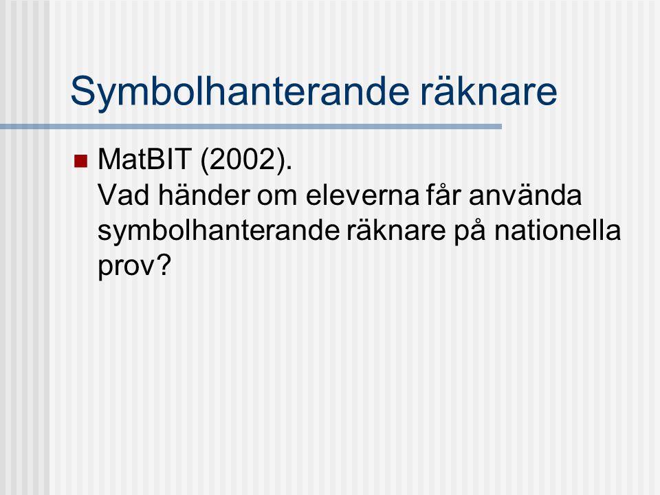 Symbolhanterande räknare MatBIT (2002). Vad händer om eleverna får använda symbolhanterande räknare på nationella prov?