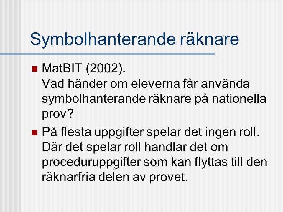 Symbolhanterande räknare MatBIT (2002). Vad händer om eleverna får använda symbolhanterande räknare på nationella prov? På flesta uppgifter spelar det