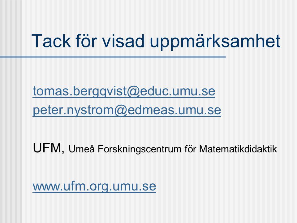 Tack för visad uppmärksamhet tomas.bergqvist@educ.umu.se peter.nystrom@edmeas.umu.se UFM, Umeå Forskningscentrum för Matematikdidaktik www.ufm.org.umu