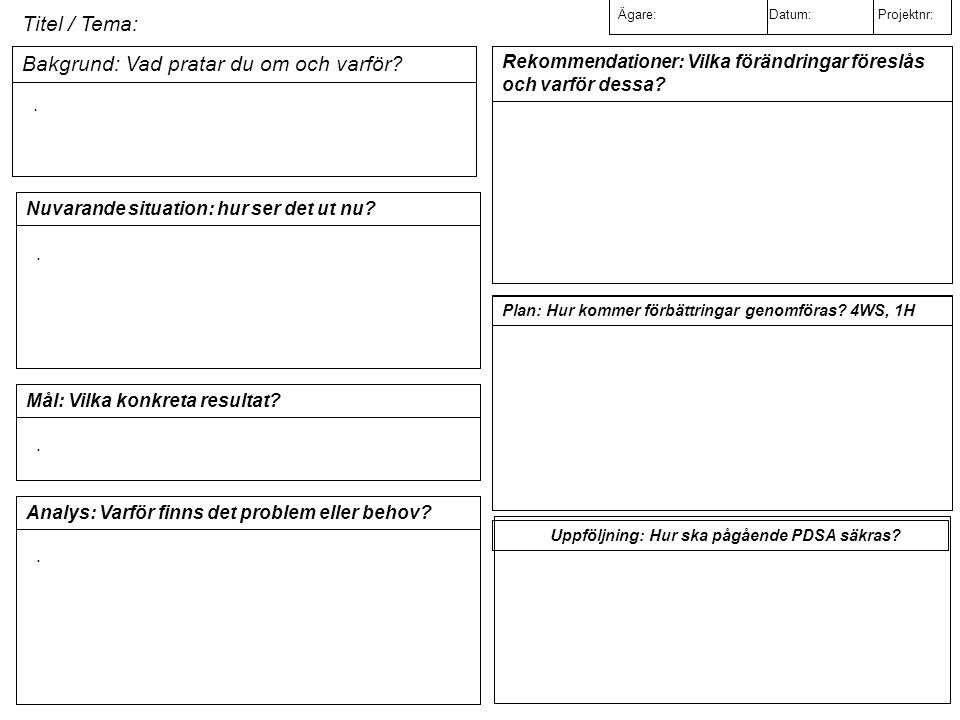 Titel / Tema: Ägare: Datum: Projektnr: Bakgrund: Vad pratar du om och varför.