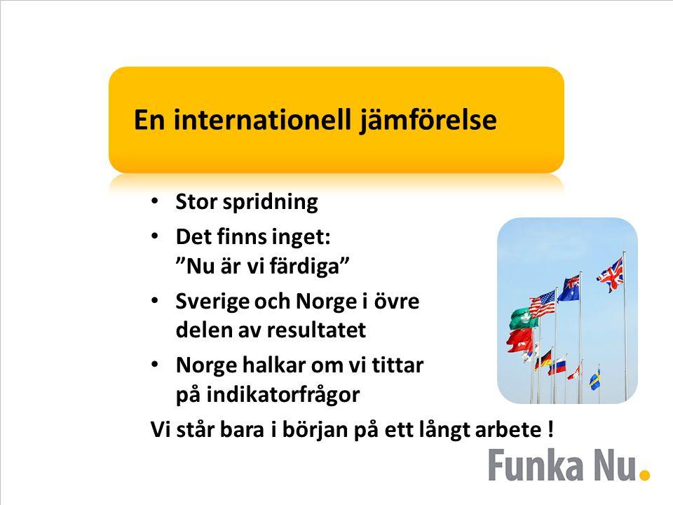 """En internationell jämförelse Stor spridning Det finns inget: """"Nu är vi färdiga"""" Sverige och Norge i övre delen av resultatet Norge halkar om vi tittar"""