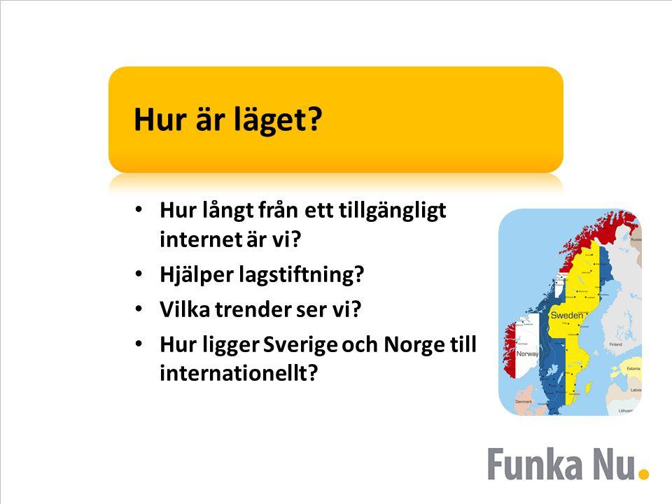 Hur är läget? Hur långt från ett tillgängligt internet är vi? Hjälper lagstiftning? Vilka trender ser vi? Hur ligger Sverige och Norge till internatio