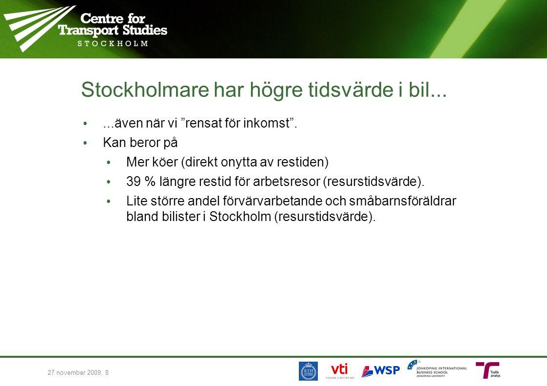 Stockholmare har högre tidsvärde i bil......även när vi rensat för inkomst .