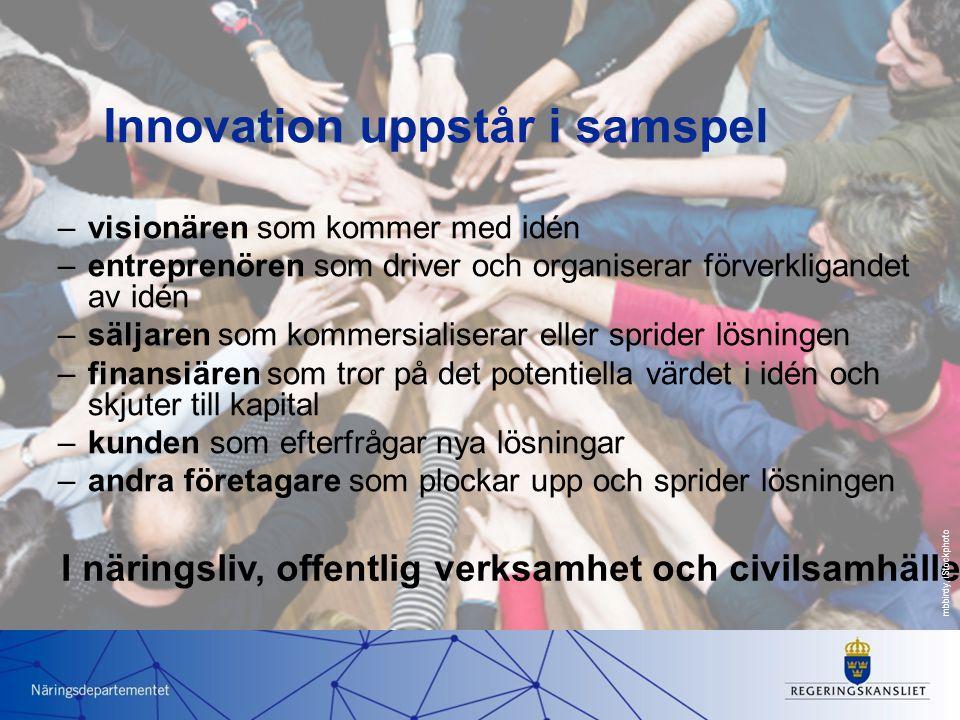 Innovation uppstår i samspel –visionären som kommer med idén –entreprenören som driver och organiserar förverkligandet av idén –säljaren som kommersialiserar eller sprider lösningen –finansiären som tror på det potentiella värdet i idén och skjuter till kapital –kunden som efterfrågar nya lösningar –andra företagare som plockar upp och sprider lösningen I näringsliv, offentlig verksamhet och civilsamhälle mbbirdy, iStockphoto
