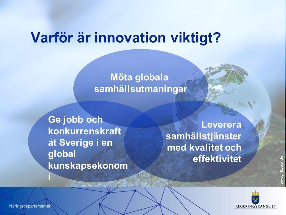 Varför är innovation viktigt? Möta globala samhällsutmaningar Leverera samhällstjänster med kvalitet och effektivitet Ge jobb och konkurrenskraft åt S
