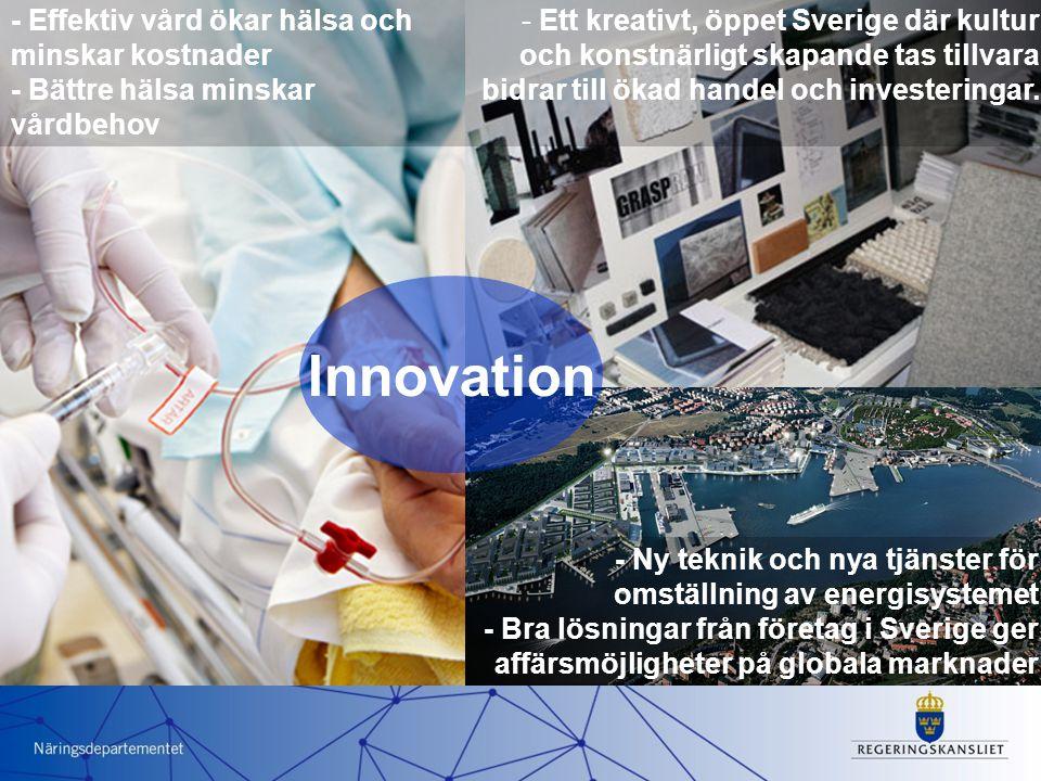 - Ett kreativt, öppet Sverige där kultur och konstnärligt skapande tas tillvara bidrar till ökad handel och investeringar.