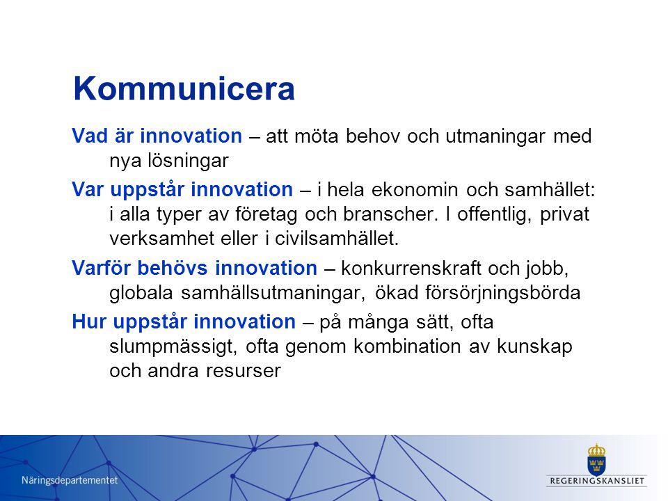 Kommunicera Vad är innovation – att möta behov och utmaningar med nya lösningar Var uppstår innovation – i hela ekonomin och samhället: i alla typer av företag och branscher.