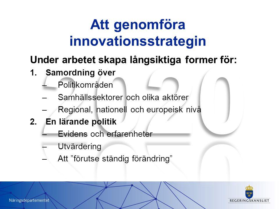 Att genomföra innovationsstrategin Under arbetet skapa långsiktiga former för: 1.Samordning över –Politikområden –Samhällssektorer och olika aktörer –