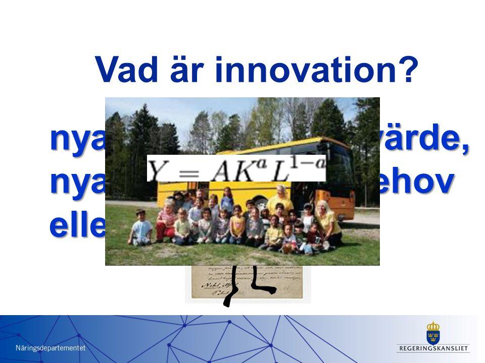 nya sätt att skapa värde, nya lösningar på behov eller efterfrågan Vad är innovation?