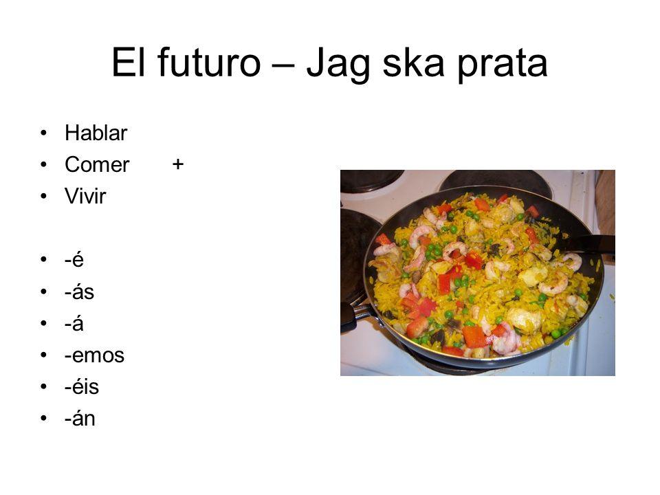 El futuro – Jag ska prata Hablar Comer+ Vivir -é -ás -á -emos -éis -án