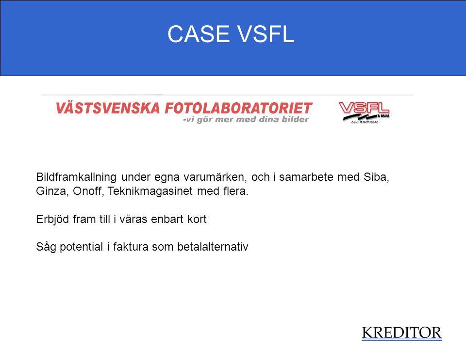 CASE VSFL Bildframkallning under egna varumärken, och i samarbete med Siba, Ginza, Onoff, Teknikmagasinet med flera. Erbjöd fram till i våras enbart k
