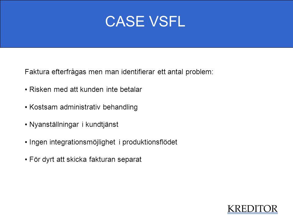 CASE VSFL Faktura efterfrågas men man identifierar ett antal problem: Risken med att kunden inte betalar Kostsam administrativ behandling Nyanställnin
