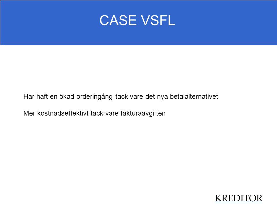 CASE VSFL Har haft en ökad orderingång tack vare det nya betalalternativet Mer kostnadseffektivt tack vare fakturaavgiften