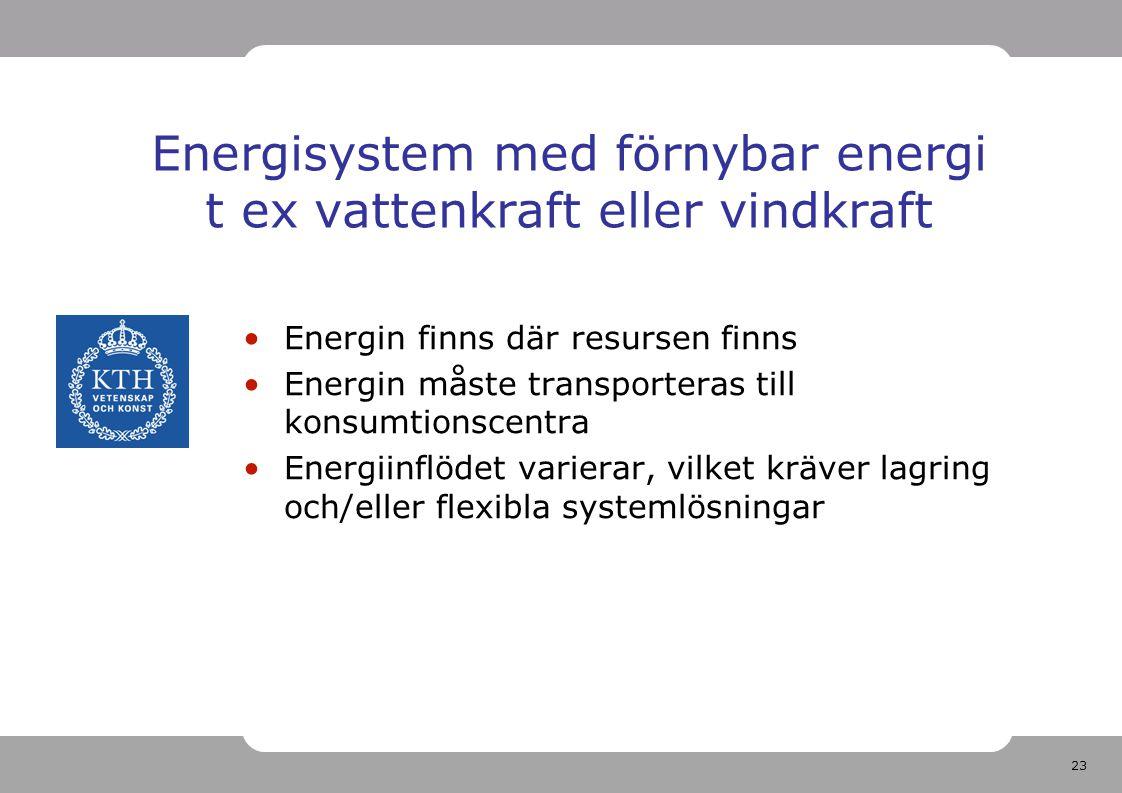 23 Energisystem med förnybar energi t ex vattenkraft eller vindkraft Energin finns där resursen finns Energin måste transporteras till konsumtionscent