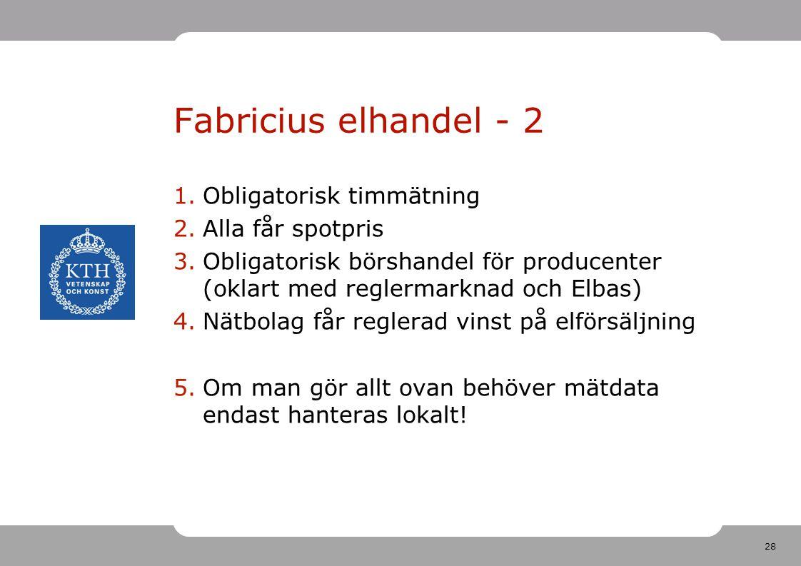 28 Fabricius elhandel - 2 1.Obligatorisk timmätning 2.Alla får spotpris 3.Obligatorisk börshandel för producenter (oklart med reglermarknad och Elbas)