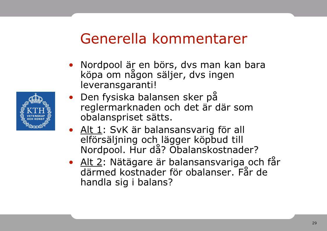 29 Generella kommentarer Nordpool är en börs, dvs man kan bara köpa om någon säljer, dvs ingen leveransgaranti! Den fysiska balansen sker på reglermar