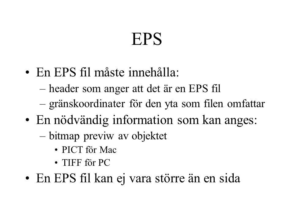 EPS En EPS fil måste innehålla: –header som anger att det är en EPS fil –gränskoordinater för den yta som filen omfattar En nödvändig information som