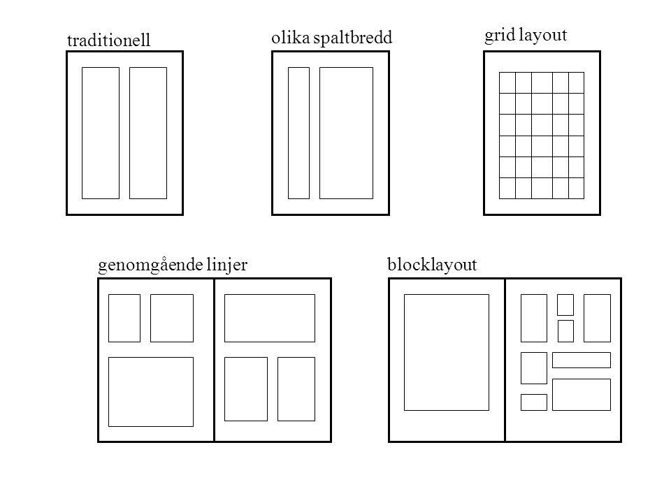 traditionell olika spaltbredd grid layout genomgående linjerblocklayout