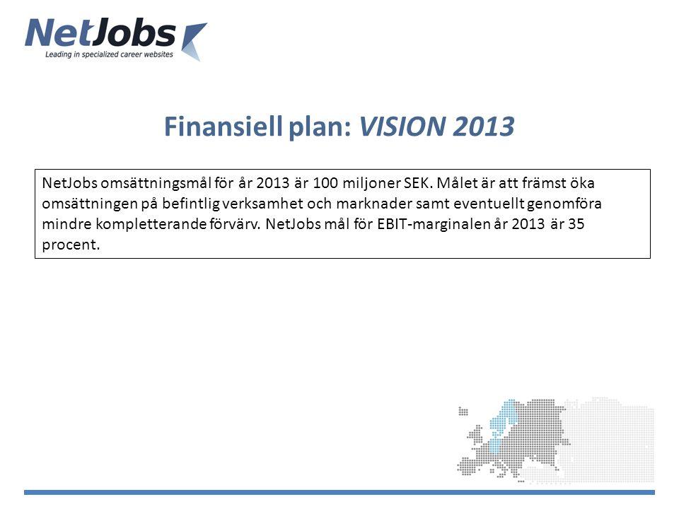 Finansiell plan: VISION 2013 NetJobs omsättningsmål för år 2013 är 100 miljoner SEK.