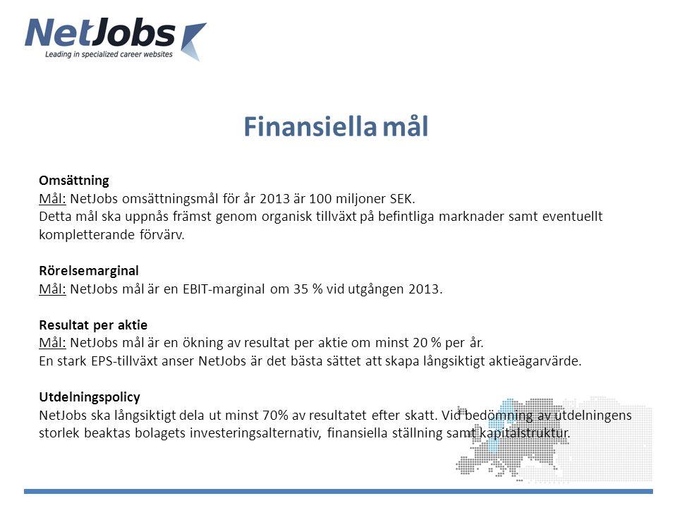 Finansiella mål Omsättning Mål: NetJobs omsättningsmål för år 2013 är 100 miljoner SEK.