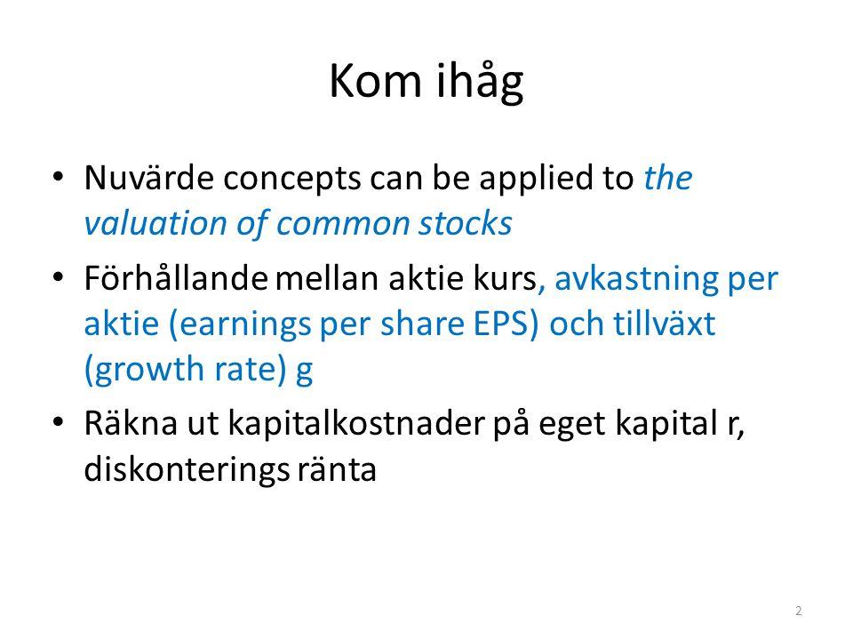 Kom ihåg Nuvärde concepts can be applied to the valuation of common stocks Förhållande mellan aktie kurs, avkastning per aktie (earnings per share EPS