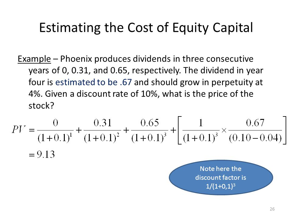 Estimating the Cost of Equity Capital Example – Phoenix produces dividends in three consecutive years of 0, 0.31, and 0.65, respectively. The dividend