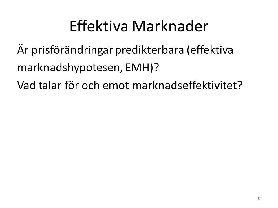 Effektiva Marknader Är prisförändringar predikterbara (effektiva marknadshypotesen, EMH)? Vad talar för och emot marknadseffektivitet? 35