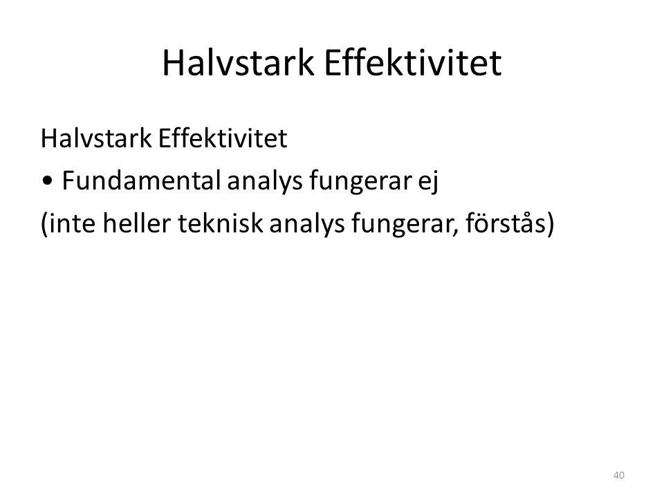 Halvstark Effektivitet Fundamental analys fungerar ej (inte heller teknisk analys fungerar, förstås) 40