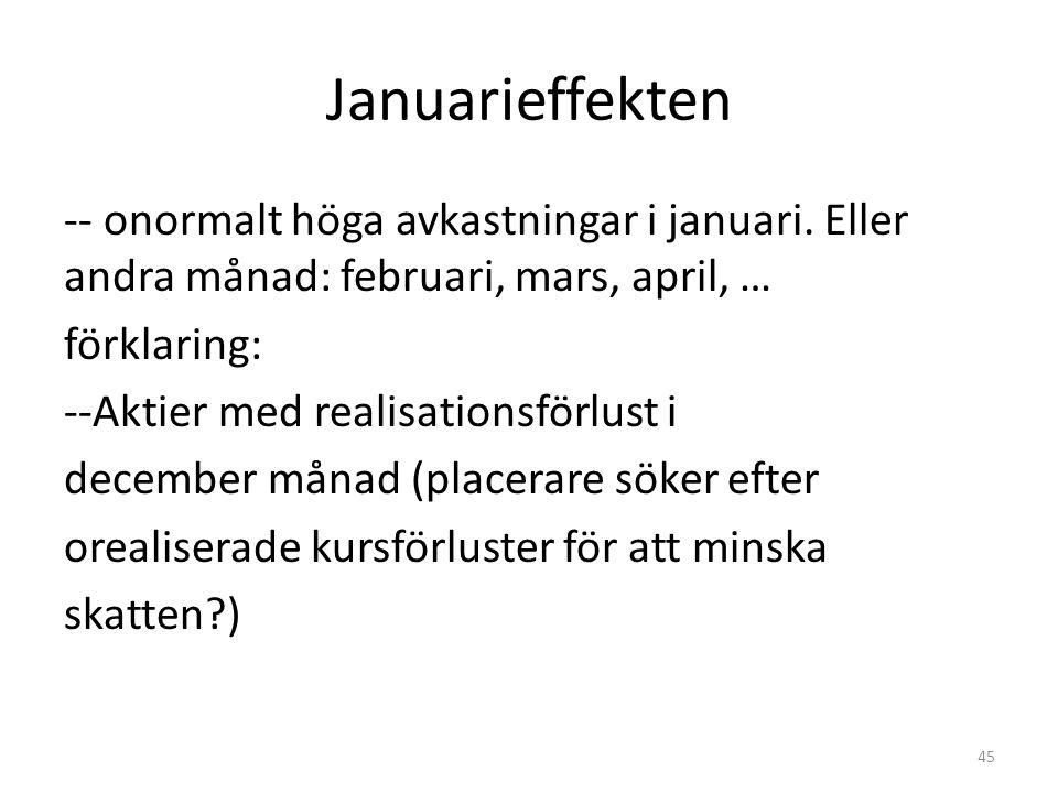 Januarieffekten -- onormalt höga avkastningar i januari. Eller andra månad: februari, mars, april, … förklaring: --Aktier med realisationsförlust i de