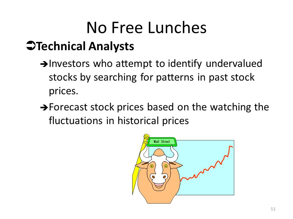 No Free Lunches  Technical Analysts  Investors who attempt to identify undervalued stocks by searching for patterns in past stock prices.  Forecast