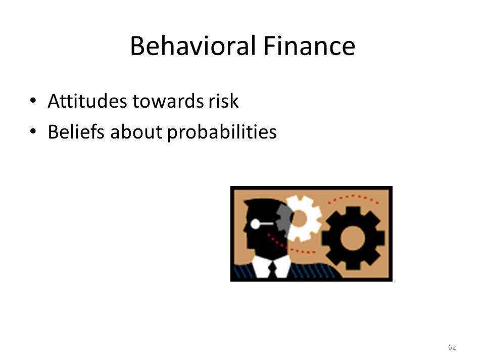 Behavioral Finance Attitudes towards risk Beliefs about probabilities 62