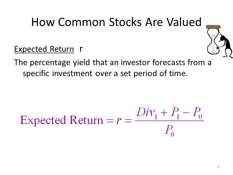 How Common Stocks Are Valued Expected Return r The percentage yield that an investor forecasts from a specific investment over a set period of time. 9