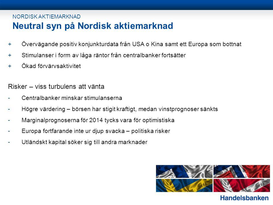 NORDISK AKTIEMARKNAD Neutral syn på Nordisk aktiemarknad +Övervägande positiv konjunkturdata från USA o Kina samt ett Europa som bottnat +Stimulanser