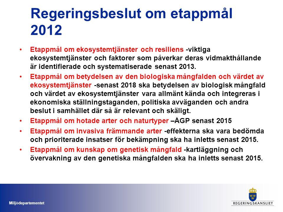 Miljödepartementet Regeringsbeslut om etappmål 2012 Etappmål om ekosystemtjänster och resiliens -viktiga ekosystemtjänster och faktorer som påverkar d