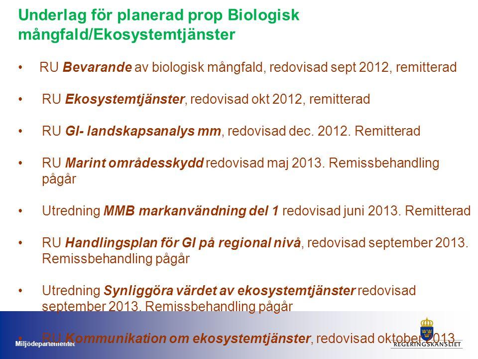 Miljödepartementet Underlag för planerad prop Biologisk mångfald/Ekosystemtjänster RU Bevarande av biologisk mångfald, redovisad sept 2012, remitterad