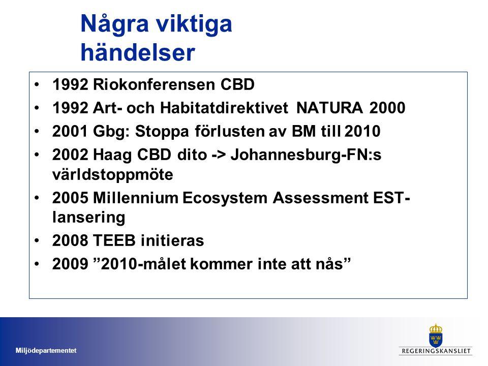Miljödepartementet Några viktiga händelser 1992 Riokonferensen CBD 1992 Art- och Habitatdirektivet NATURA 2000 2001 Gbg: Stoppa förlusten av BM till 2