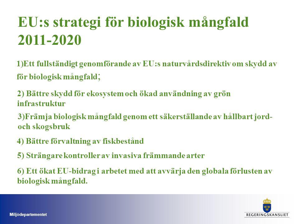 Miljödepartementet 1)Ett fullständigt genomförande av EU:s naturvårdsdirektiv om skydd av för biologisk mångfald ; 2) Bättre skydd för ekosystem och ö