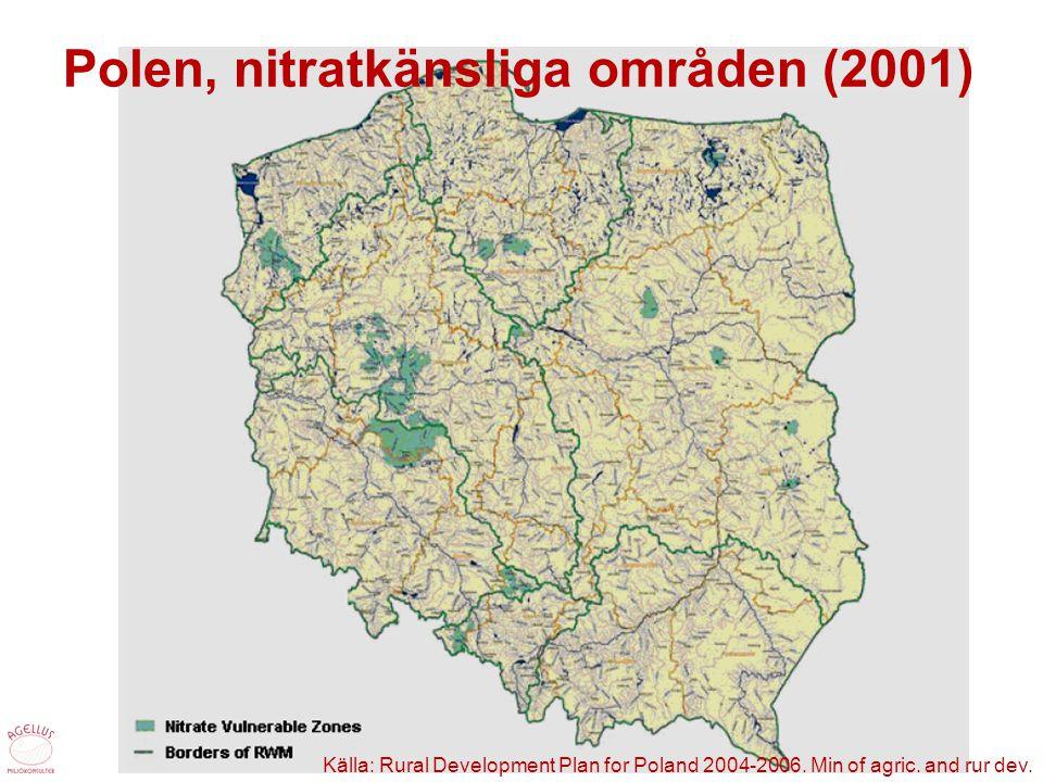 Polen, nitratkänsliga områden (2001) Källa: Rural Development Plan for Poland 2004-2006. Min of agric. and rur dev.