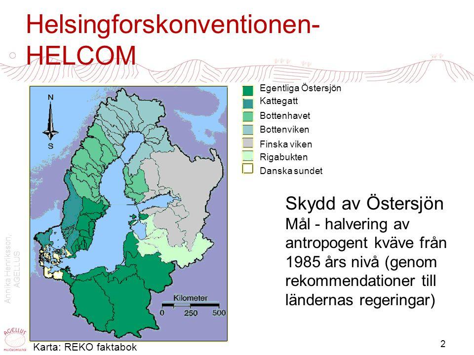 Annika Henriksson, AGELLUS 2 Helsingforskonventionen- HELCOM Skydd av Östersjön Mål - halvering av antropogent kväve från 1985 års nivå (genom rekomme