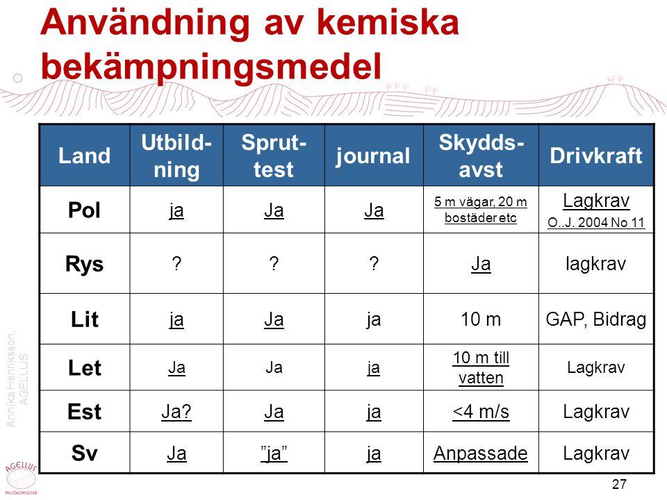 Annika Henriksson, AGELLUS 27 Användning av kemiska bekämpningsmedel Land Utbild- ning Sprut- test journal Skydds- avst Drivkraft Pol jaJa 5 m vägar,