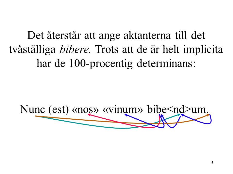 5 Det återstår att ange aktanterna till det tvåställiga bibere. Trots att de är helt implicita har de 100-procentig determinans: Nunc (est) «nos» «vin