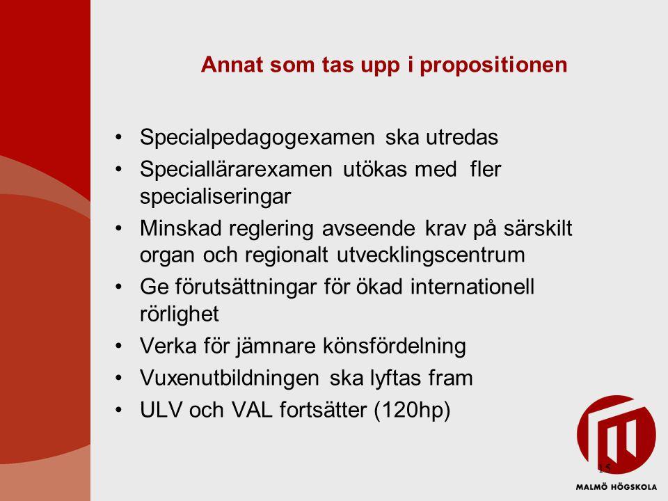 15 Annat som tas upp i propositionen Specialpedagogexamen ska utredas Speciallärarexamen utökas med fler specialiseringar Minskad reglering avseende krav på särskilt organ och regionalt utvecklingscentrum Ge förutsättningar för ökad internationell rörlighet Verka för jämnare könsfördelning Vuxenutbildningen ska lyftas fram ULV och VAL fortsätter (120hp)
