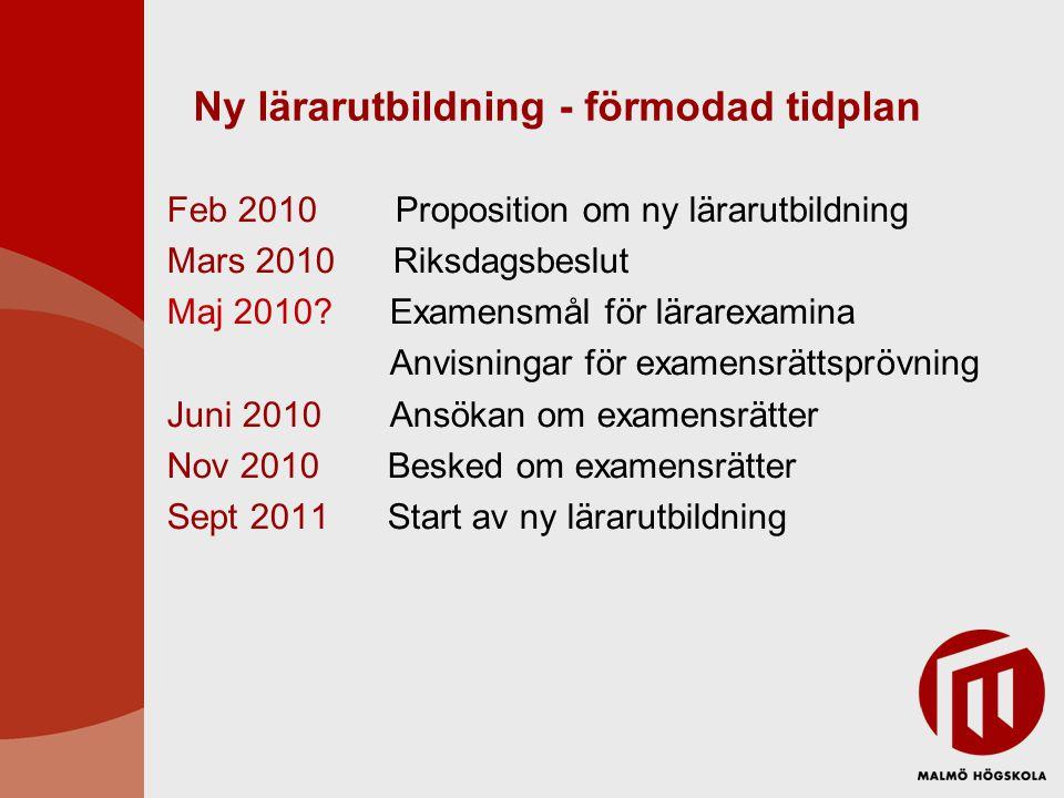 Ny lärarutbildning - förmodad tidplan Feb 2010 Proposition om ny lärarutbildning Mars 2010 Riksdagsbeslut Maj 2010.