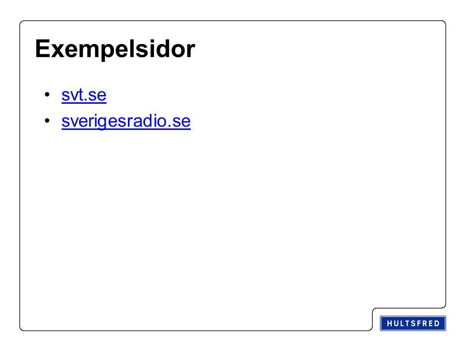 Exempelsidor svt.se sverigesradio.se