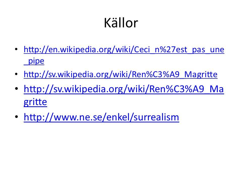 Källor http://en.wikipedia.org/wiki/Ceci_n%27est_pas_une _pipe http://en.wikipedia.org/wiki/Ceci_n%27est_pas_une _pipe http://sv.wikipedia.org/wiki/Re