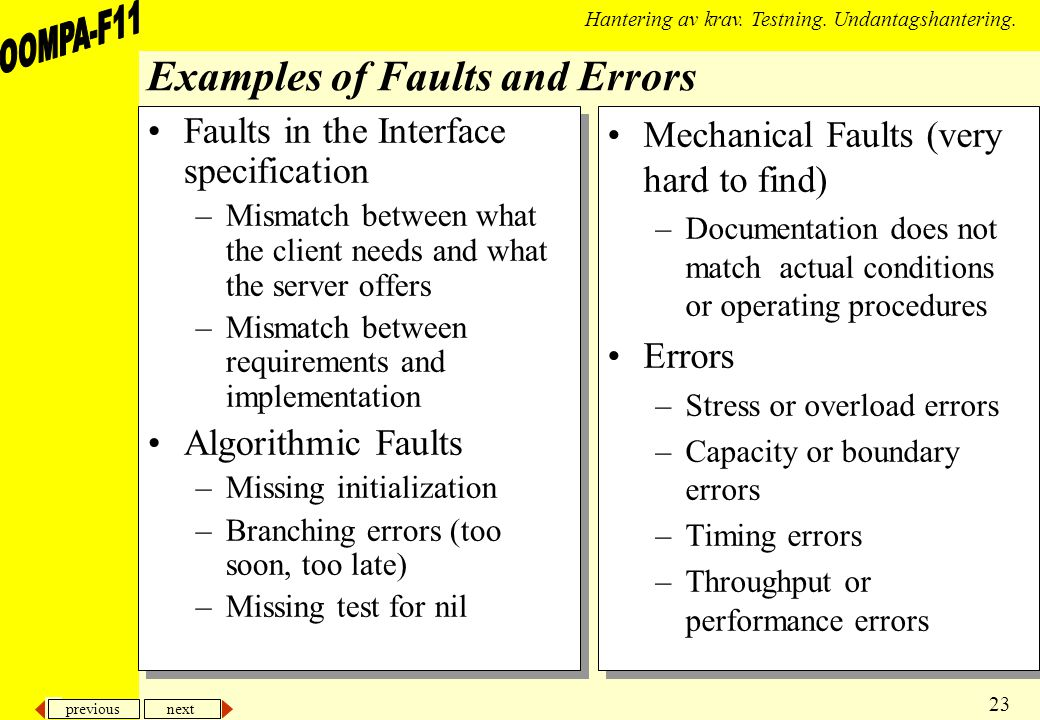 previous next 23 Hantering av krav. Testning. Undantagshantering. Examples of Faults and Errors Faults in the Interface specification –Mismatch betwee