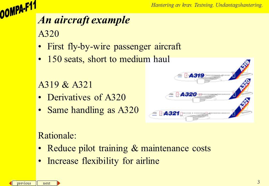 previous next 3 Hantering av krav. Testning. Undantagshantering. An aircraft example A320 First fly-by-wire passenger aircraft 150 seats, short to med