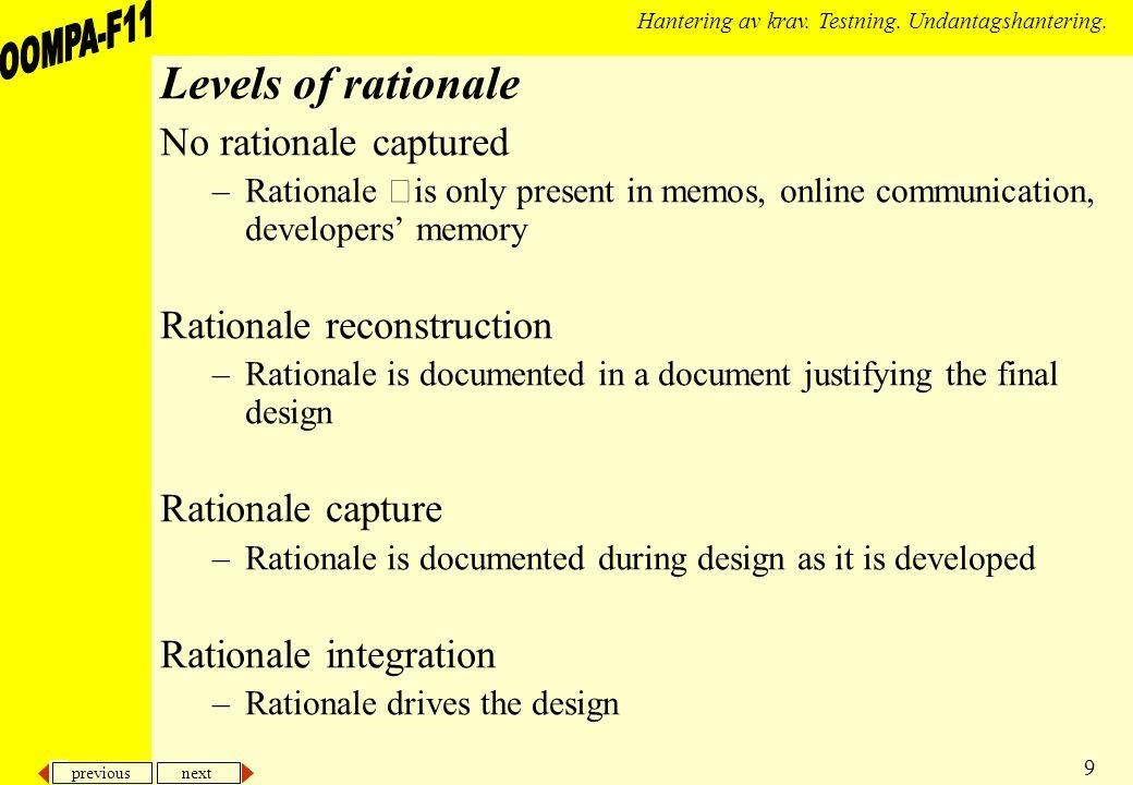 previous next 9 Hantering av krav. Testning. Undantagshantering. Levels of rationale No rationale captured –Rationale is only present in memos, online